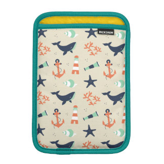 Cute sailor pattern with whale elements sleeve for iPad mini