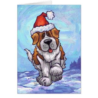 Cute Saint Bernard Dog Holiday Card
