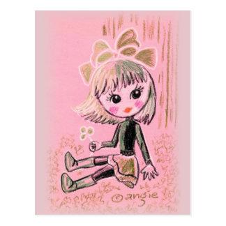 Cute Saint Patrick's Irish Girl With Clover Post Cards