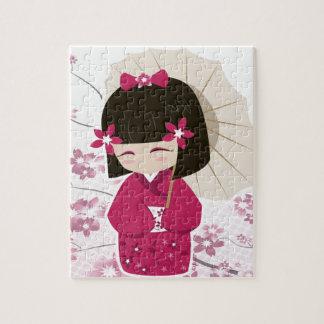 Cute Sakura Kokeshi Doll Jigsaw Puzzle