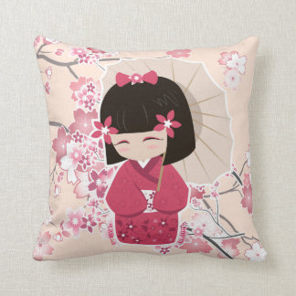 Cute Sakura Kokeshi Doll Pillow