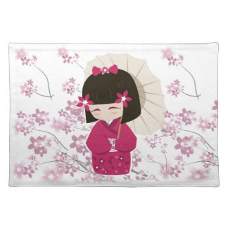 Cute Sakura Kokeshi Doll Placemat