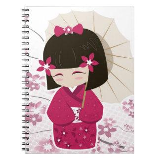 Cute Sakura Kokeshi Doll Spiral Notebook