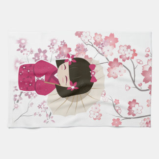 Cute Sakura Kokeshi Doll Towels