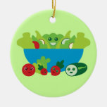 Cute Salad Double-Sided Ceramic Round Christmas Ornament