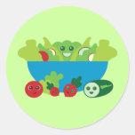 Cute Salad Round Stickers