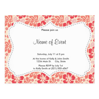 Cute Salmon and Coral Pink Floral Pattern Postcard