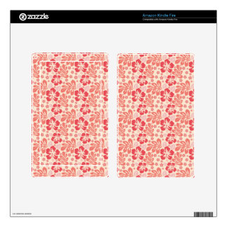 Cute Salmon and Coral Pink Floral Pattern Skins For Kindle Fire
