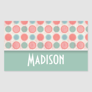 Cute Salmon, Coral Pink, & Seafoam Polka Dots Rectangular Sticker