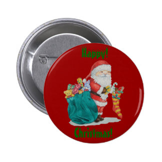 Cute santa and gifts in stocking christmas button pins