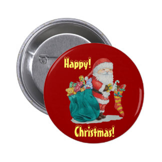 Cute santa and gifts in stocking christmas button pinback buttons