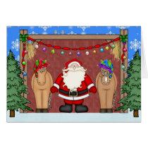 Cute Santa and Horse Christmas Greeting Card