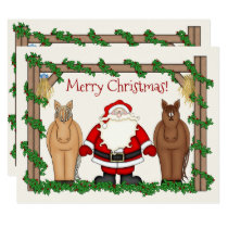 Cute Santa and Horses Merry Christmas Holiday Card