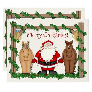 Cute Santa and Horses Merry Christmas Holiday Card
