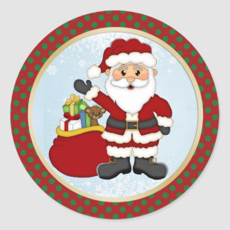 Cute Santa and presents Christmas Classic Round Sticker