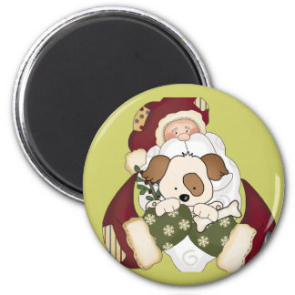 Cute Santa and Puppy 2 Inch Round Magnet