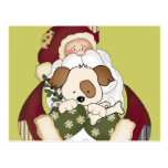 Cute Santa and Puppy Postcards