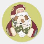 Cute Santa and Puppy Round Sticker