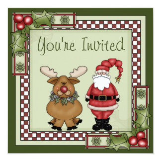 Cute Santa and Reindeer Christmas Holiday Party Card