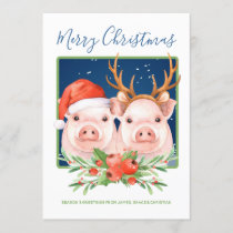 Cute Santa and Reindeer Christmas Pig Couple Holiday Card