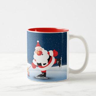 Cute Santa and Reindeer Holiday design Two-Tone Coffee Mug
