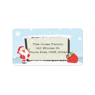 Cute Santa and Snow Address Label