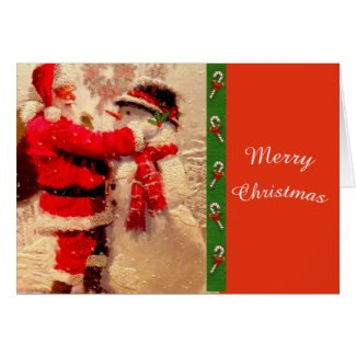 Cute Santa and Snowman Christmas Greeting Card