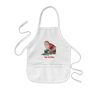 Cute santa and toys wrapping Christmas gifts Kids' Apron