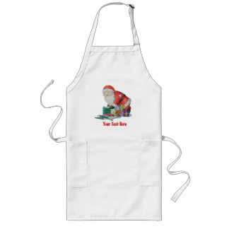 Cute santa and toys wrapping Christmas gifts Long Apron