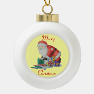 Cute santa and toys wrapping Christmas gifts Ornaments
