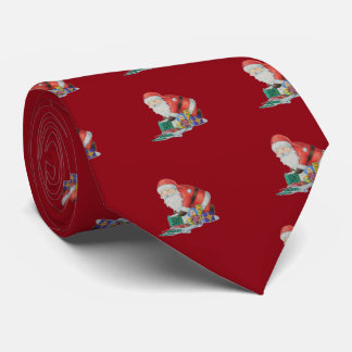 Cute santa and toys wrapping Christmas gifts Tie