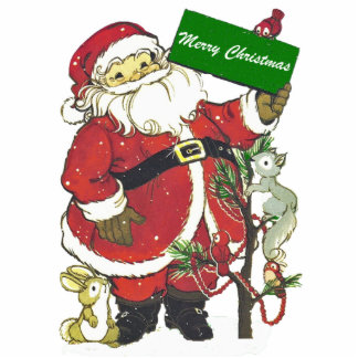 Cute Santa Animals Merry Christmas Standing Photo Sculpture