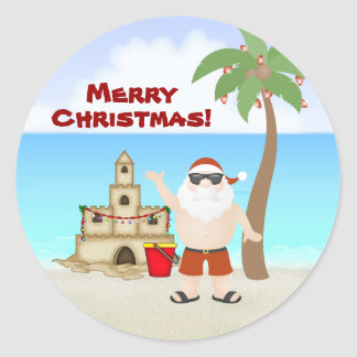 Cute Santa at the Beach Merry Christmas Holiday Classic Round Sticker