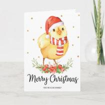 Cute Santa Baby Chick Merry Christmas Greetings Holiday Card