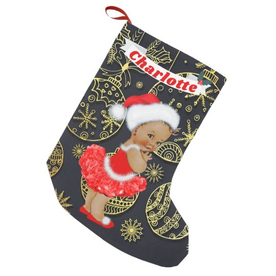 cute santa baby girl ethnic name gold ornaments small christmas stocking - Girl Christmas Stocking
