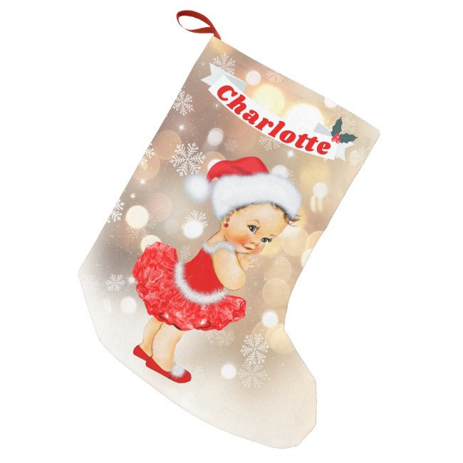 Cute Santa Baby Girl Red Gold Monogram Name Small Christmas Stocking