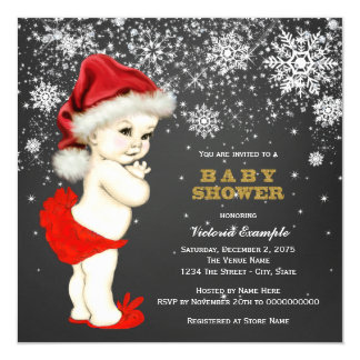 Cute Santa Baby Girl Snowflake Baby Shower Personalized Invitation