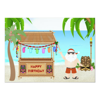 "Cute Santa Beach Holiday Birthday Invitations 5"" X 7"" Invitation Card"