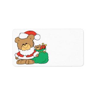 Cute Santa Bear and Toy Sack Address Label