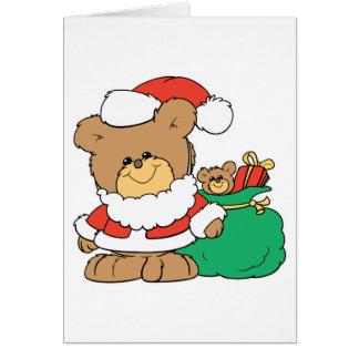 Cute Santa Bear and Toy Sack Greeting Card
