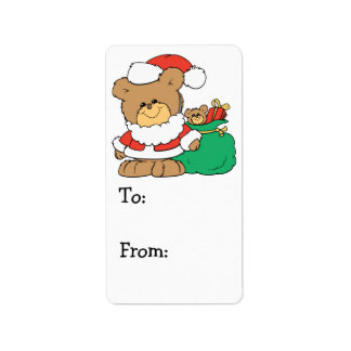 Cute Santa Bear and Toy Sack Personalized Address Labels