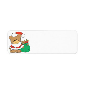 Cute Santa Bear and Toy Sack Custom Return Address Label