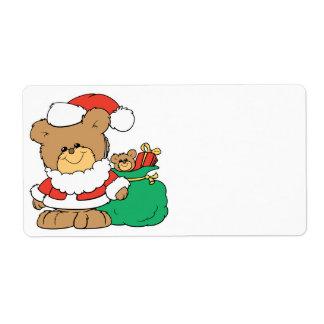 Cute Santa Bear and Toy Sack Custom Shipping Labels