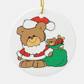 Cute Santa Bear and Toy Sack Ornament
