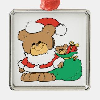 Cute Santa Bear and Toy Sack Christmas Tree Ornaments