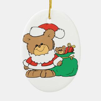 Cute Santa Bear and Toy Sack Ornaments
