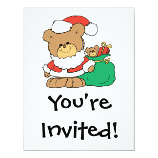 Cute Santa Bear and Toy Sack Personalized Invite