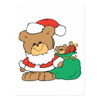 Cute Santa Bear and Toy Sack Post Card