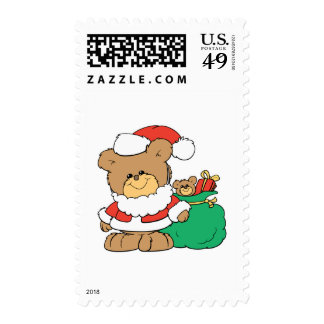Cute Santa Bear and Toy Sack Postage Stamp