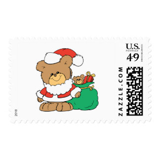 Cute Santa Bear and Toy Sack Postage Stamps